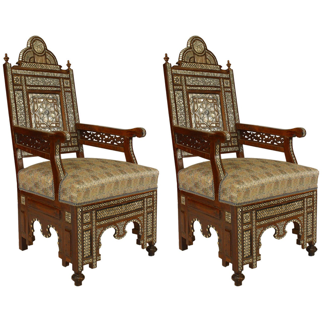 Pair Of 20th C Middle Eastern Or Moorish Style Inlaid High Back Armchairs For Sale At 1stdibs