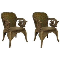 Pair of 19th c. Austrian Scale-Carved Armchairs