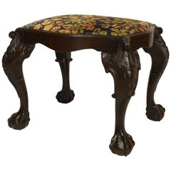 Turn of the Century English Chippendale Style Mahogany Bench