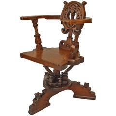 German Arts and Crafts Oak Swivel Chair by Verkaufshalle Frankfurt