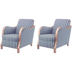 Pair of 20th c. Swedish Biedermeier Style Upholstered Club Chairs