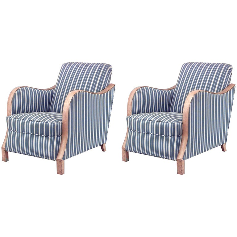 Pair of Swedish Biedermeier-style upholstered club chairs, 1930s, offered by Newel