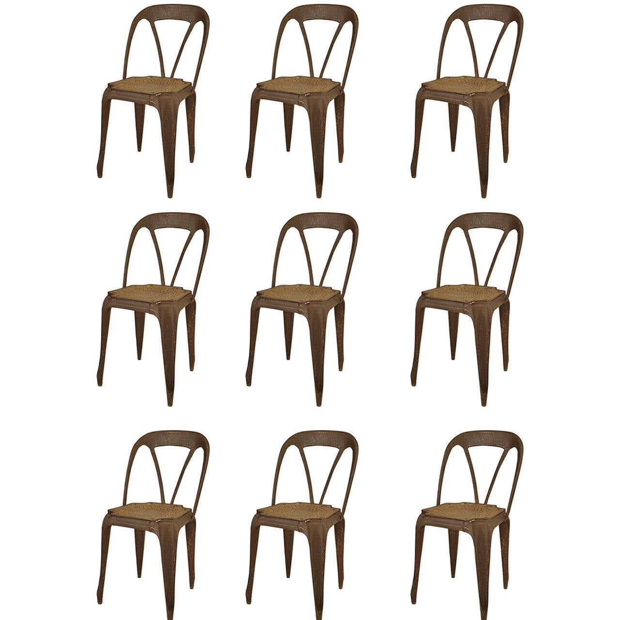 9 French Art Deco Metal Stacking Side Chairs
