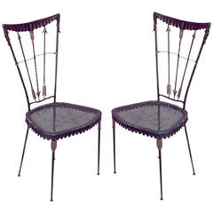 Pair of 1940's French Arrow Design Side Chairs