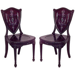 Pair of 19th c. English Adam Style Carved Mahogany Hall Chairs