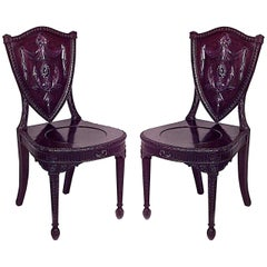 Pair of English Adam Shield Back Side Chairs