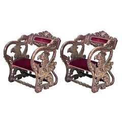 Pair of 19th c. Italian Renaissance Style Jester Chairs