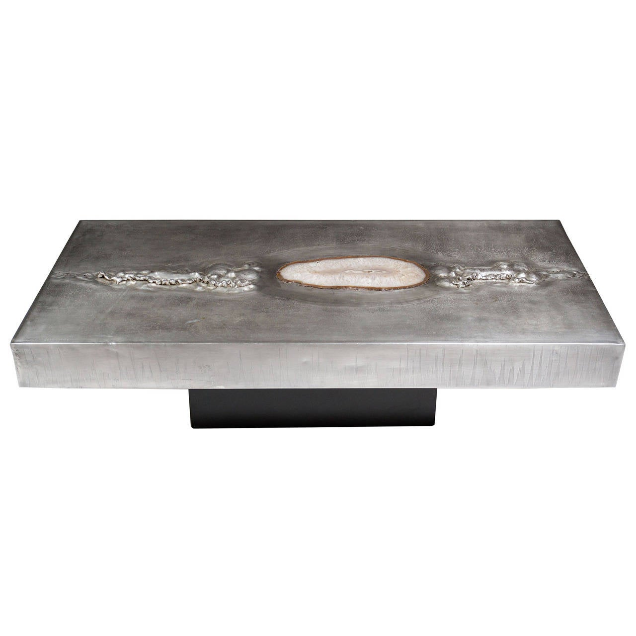 1970s belgian quartz inset textured aluminum coffee table