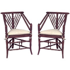 Pair of 19th c. English Charles II Style Oak Turner's Chairs