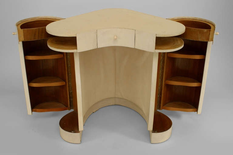 Diminutive Italian Art Deco Parchment Veneered Dressing Table 3