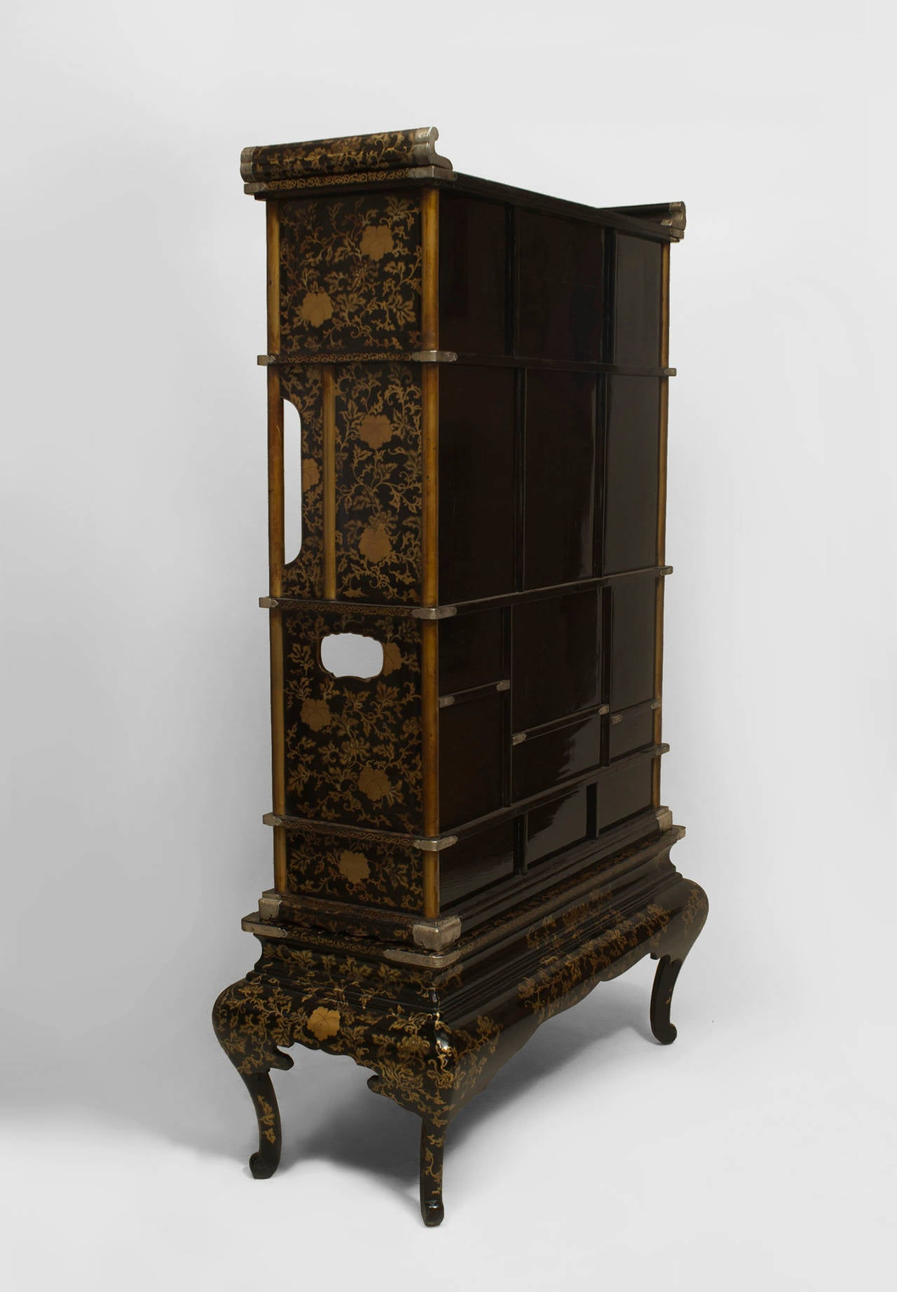 japanese meiji period black lacquered tag re cabinet for sale at 1stdibs. Black Bedroom Furniture Sets. Home Design Ideas