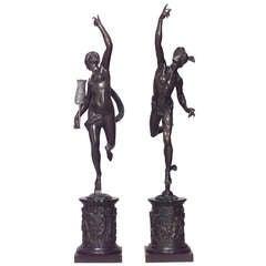 Pair of 19th Century Italian Bronze Mythological Figures