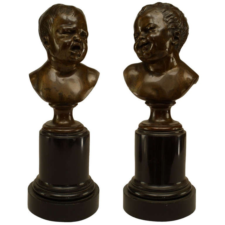 Pair of 19th Century French Bronze Infant Busts For Sale