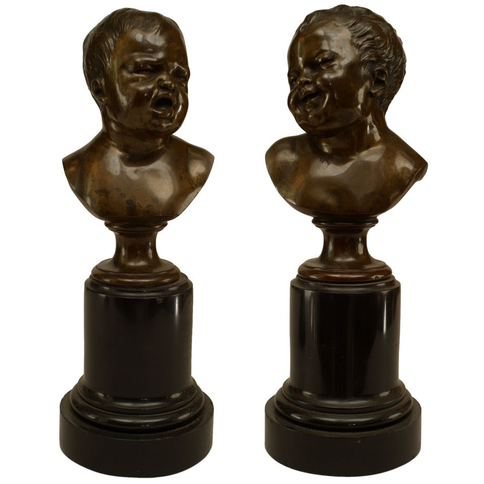 Pair of 19th Century French Bronze Infant Busts