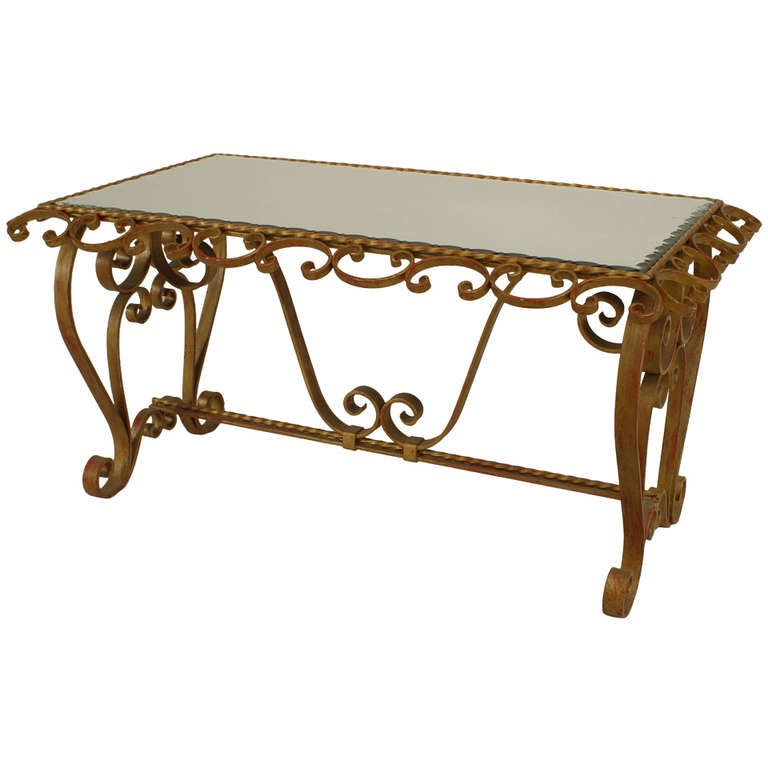1940 39 s french art moderne scrolling wrought iron coffee for Wrought iron coffee table for sale