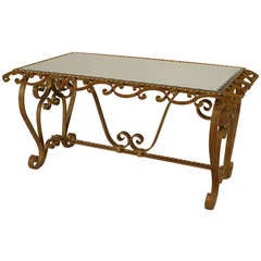 1940's French Art Moderne Scrolling Wrought Iron Coffee Table