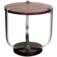 French Art Deco Palisander and Chrome End Table