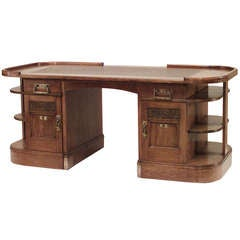 Vienna Secession Carved Oak Desk with Open Shelving