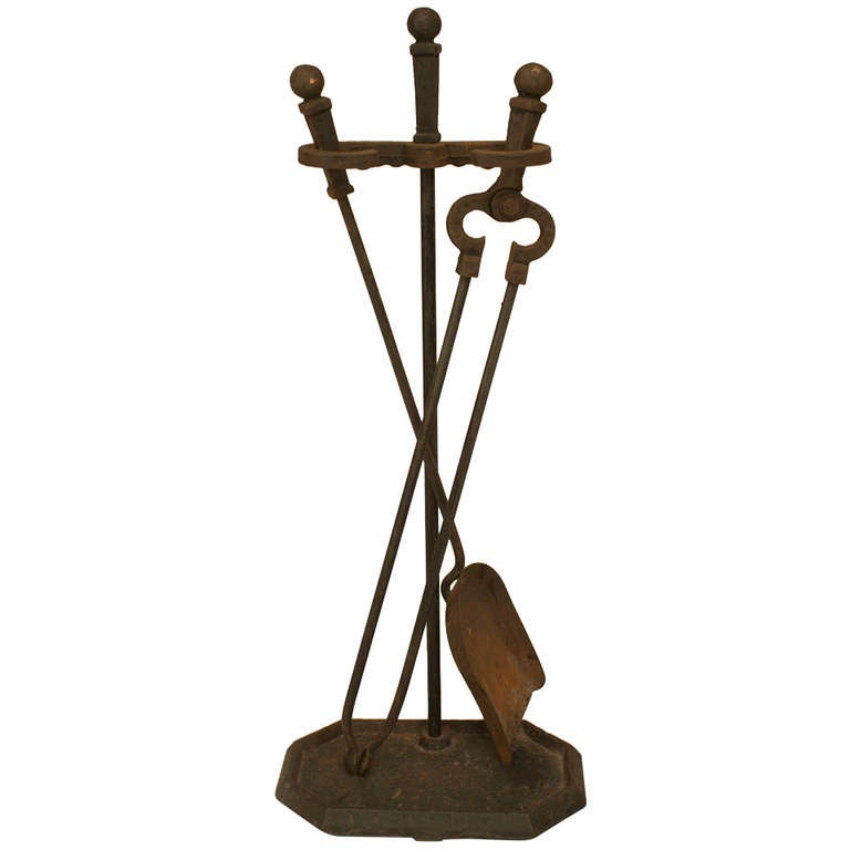 Early 20th C American Mission Wrought Iron Fire Tools At 1stdibs