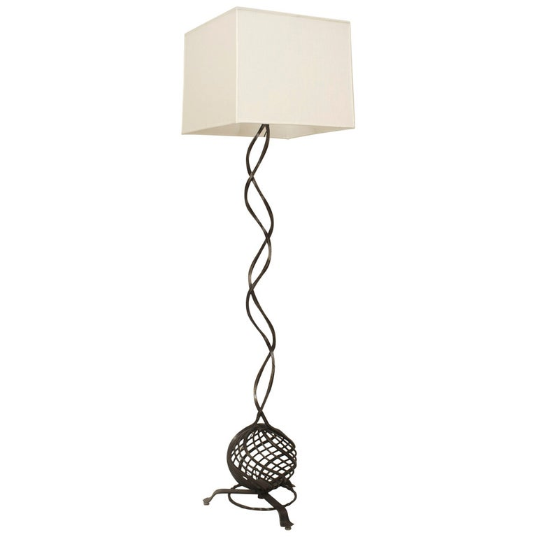 French Art Deco Woven Iron Floor Lamp by Piguet For Sale