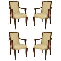 Set of 4 French Art Moderne Armchairs in the Style of Pascaud
