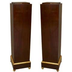 Pair of Art Deco Gilt Trimmed Mahogany Pedestals