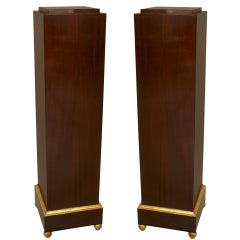 Pair of Art Deco Gilt Trimmed Mahogany Pedestals