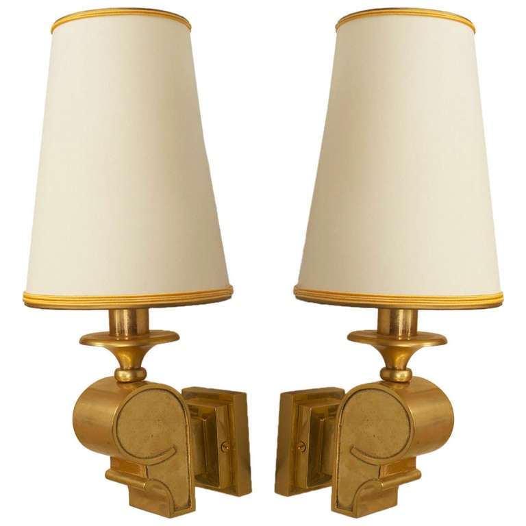 French Art Deco Wall Sconces : Pair of French Art Deco Gilt Bronze Wall Sconces at 1stdibs
