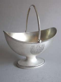 """Hester Bateman. A very unusual George III """"Boat"""" shaped Basket"""
