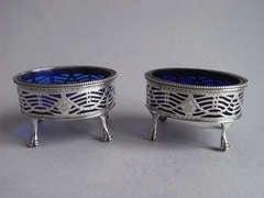 A pair of George III Salt Cellars made in London in 1784 by William Plummer.