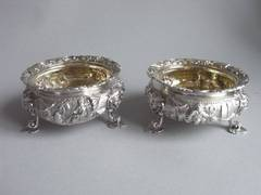 A rare pair of William IV Chinoiserie Salt Cellars