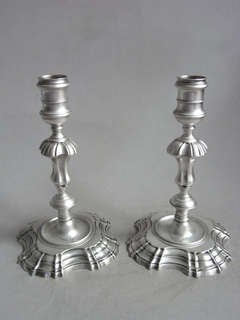 A very fine pair of George II Cast Candlesticks made in London in 1743