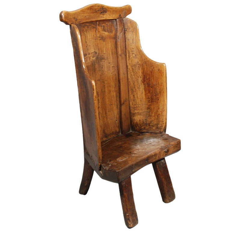 Early 19th Century Ash Primitive Childs Lambing Chair At