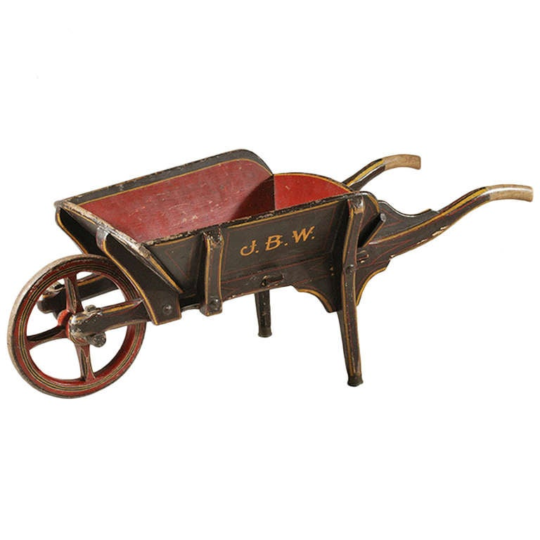Antique 19th Century Painted Wood Wheelbarrow At 1stdibs