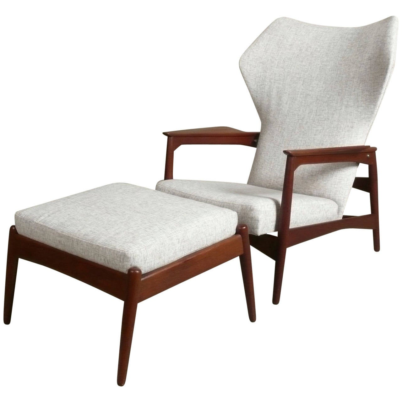 Teak Reclining Lounge Chair And Ottoman From Denmark At 1stdibs