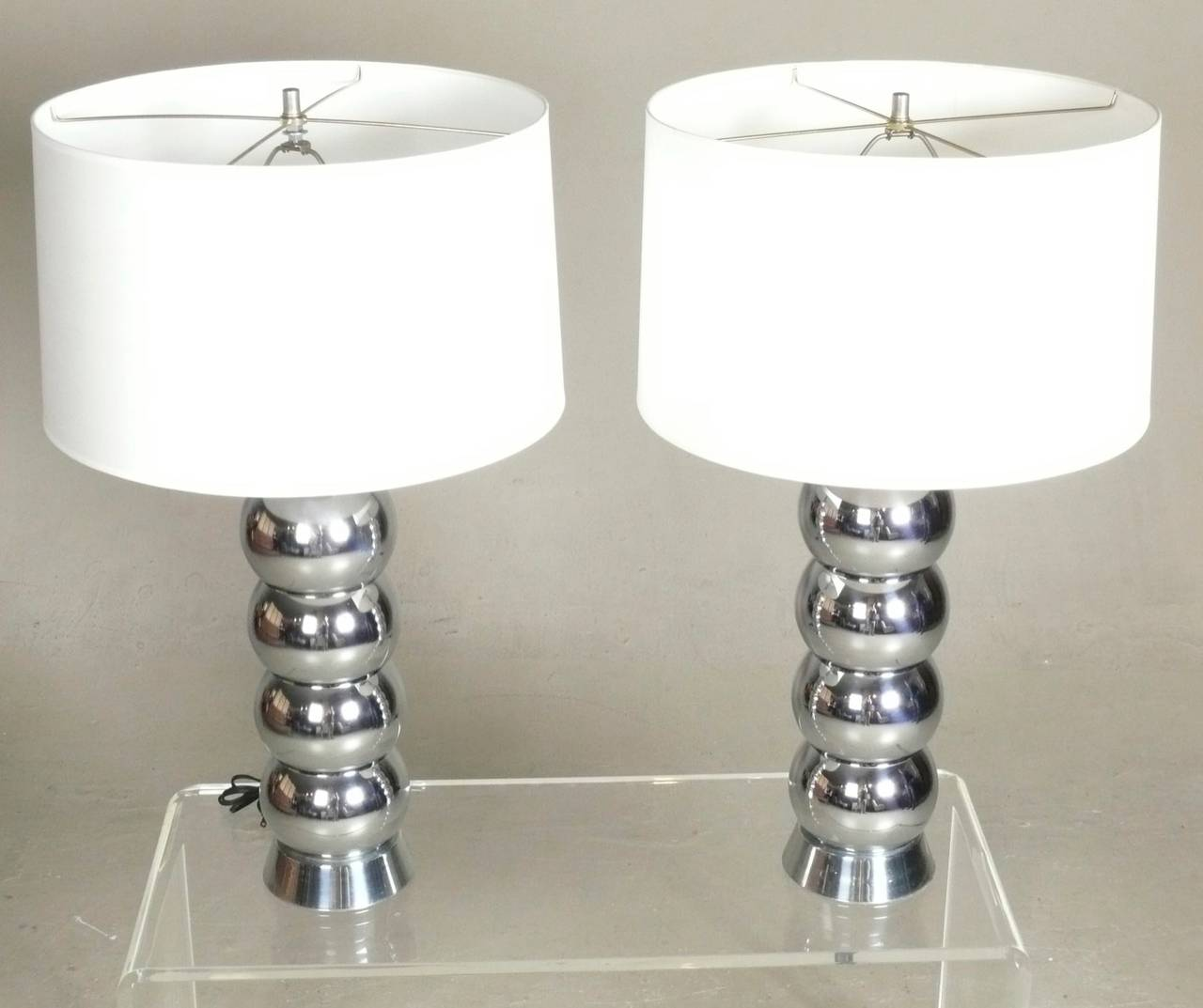 Pair of chrome ball table lamps by george kovacs at 1stdibs pair of chrome ball table lamps by george kovacs 3 geotapseo Choice Image