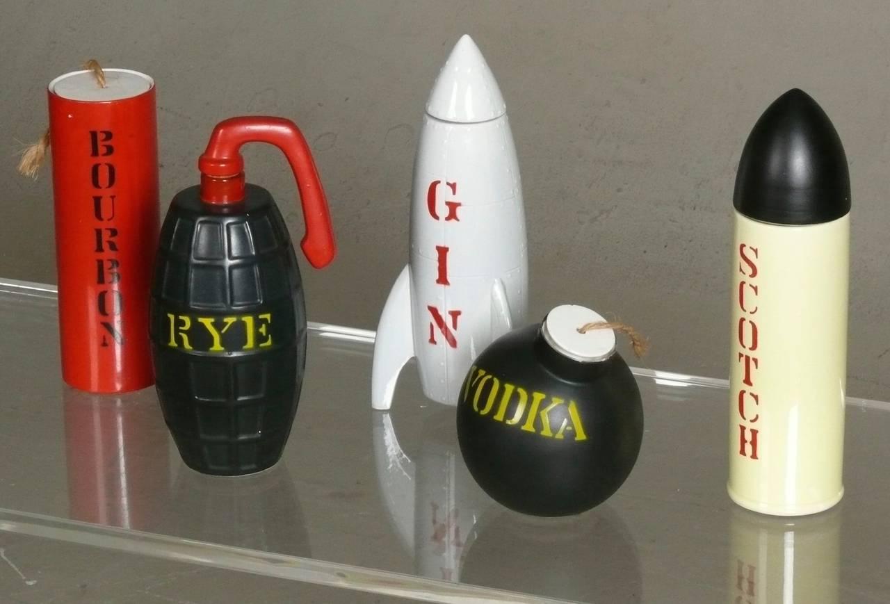 Rare Set 1960s Cold War Ammunition Decanters, Bar Set 2
