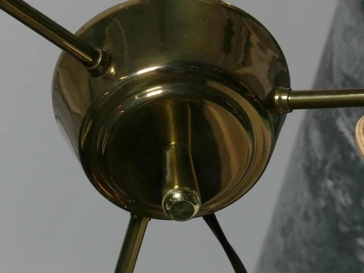 1950s Triple Pendant Scandinavian Light Fixture For Sale