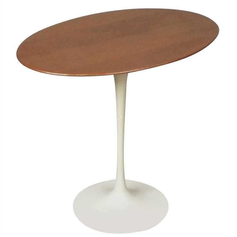 Vintage Eero Saarinen Oval Walnut Tulip Side Table For