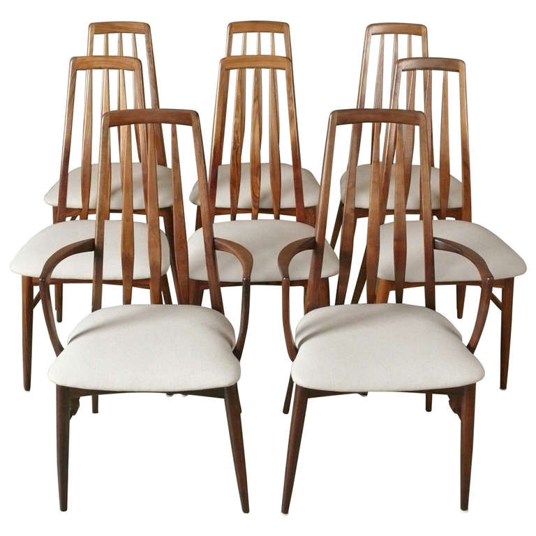 Set Of 8 Rosewood Eva Dining Chairs By Niels Koefoed At 1stdibs