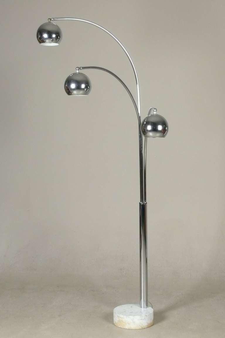 italian chrome 3 arm arc lamp with ball globes image 3. Black Bedroom Furniture Sets. Home Design Ideas