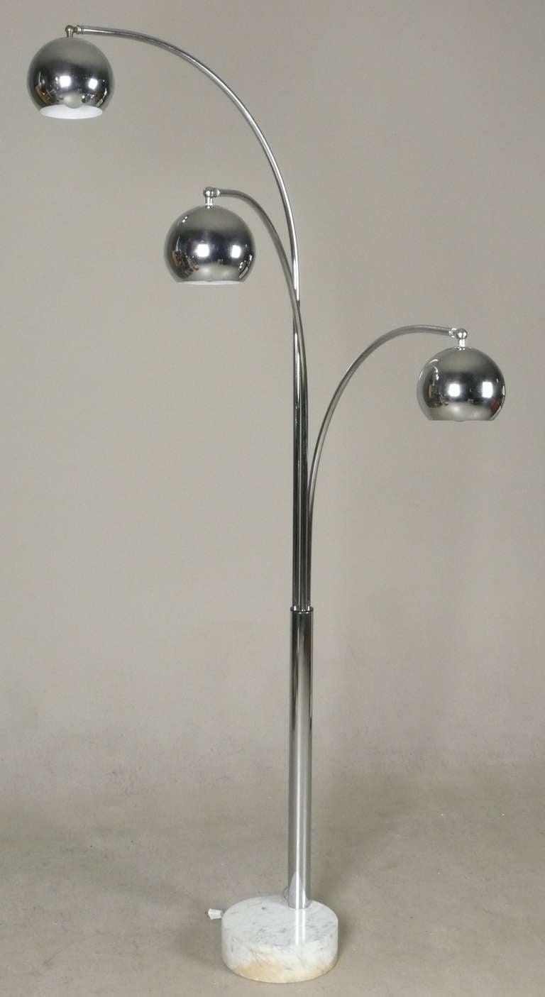 Italian Chrome 3 Arm Arc Lamp With Ball Globes At 1stdibs