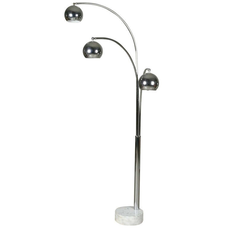 italian chrome 3 arm arc lamp with ball globes at 1stdibs. Black Bedroom Furniture Sets. Home Design Ideas