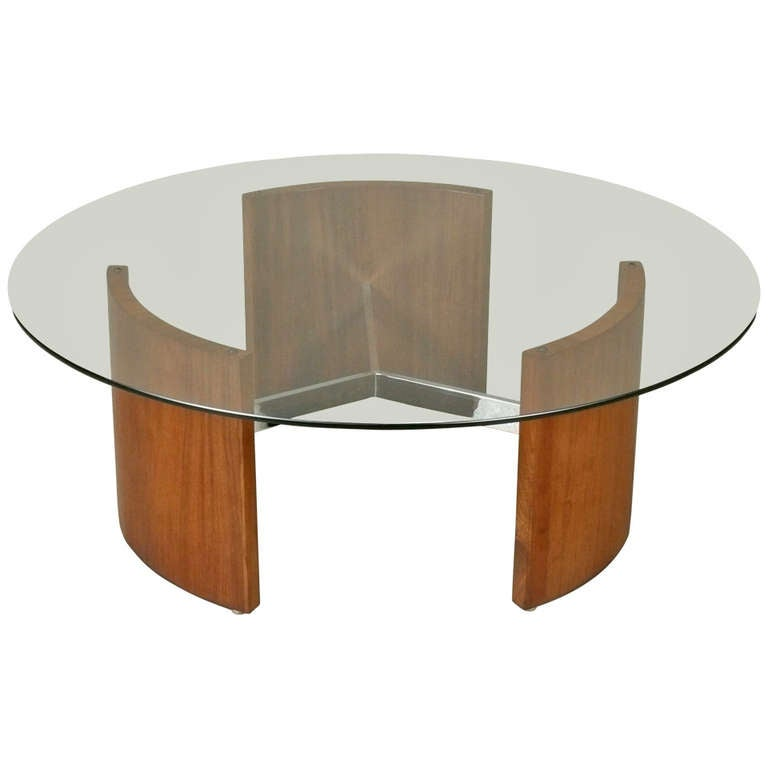 1960s Walnut Chrome And Glass Cocktail Table At 1stdibs