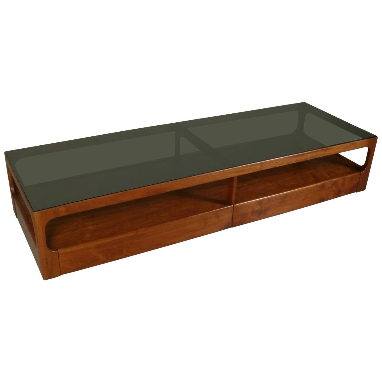 Walnut And Smoked Glass Coffee Table By John Keal For Brown Saltman At 1stdibs