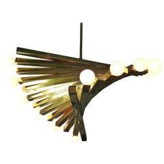 Mid-Century Modern Gaetano Sciolari Sculptural Brass Spiral Chandelier