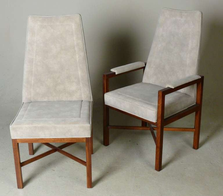 set of 8 dunbar rosewood and suede dining chairs for sale