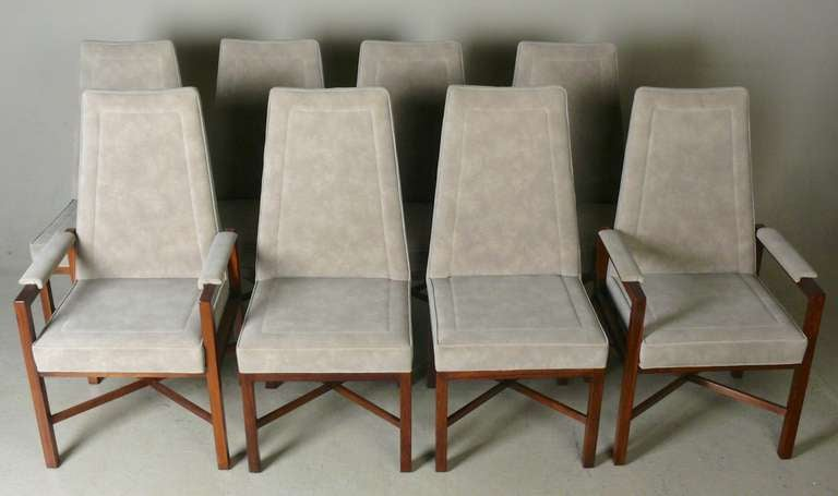 set of 8 dunbar rosewood and suede dining chairs at 1stdibs