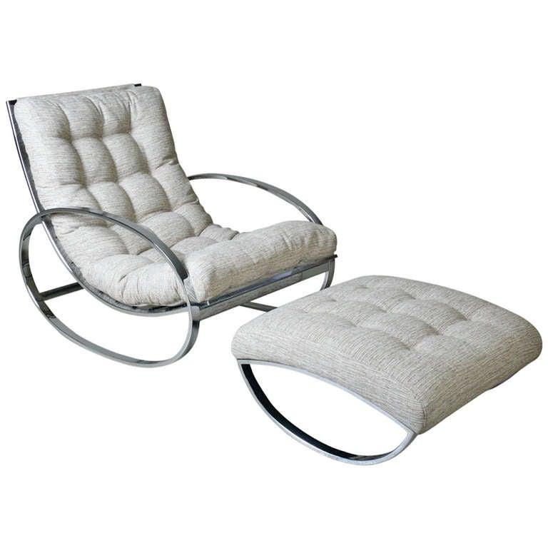 Renato Zevi Rocking Lounge Chair and Ottoman c 1970 at 1stdibs