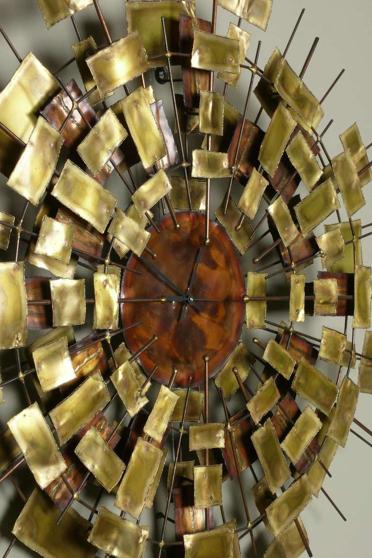 large 1960 39 s signed brass and copper wall clock sculpture